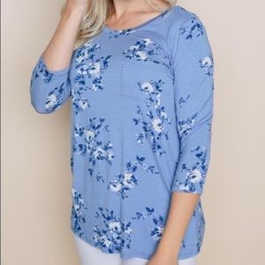 Amelia James Spring Floral Top with Front Pocket